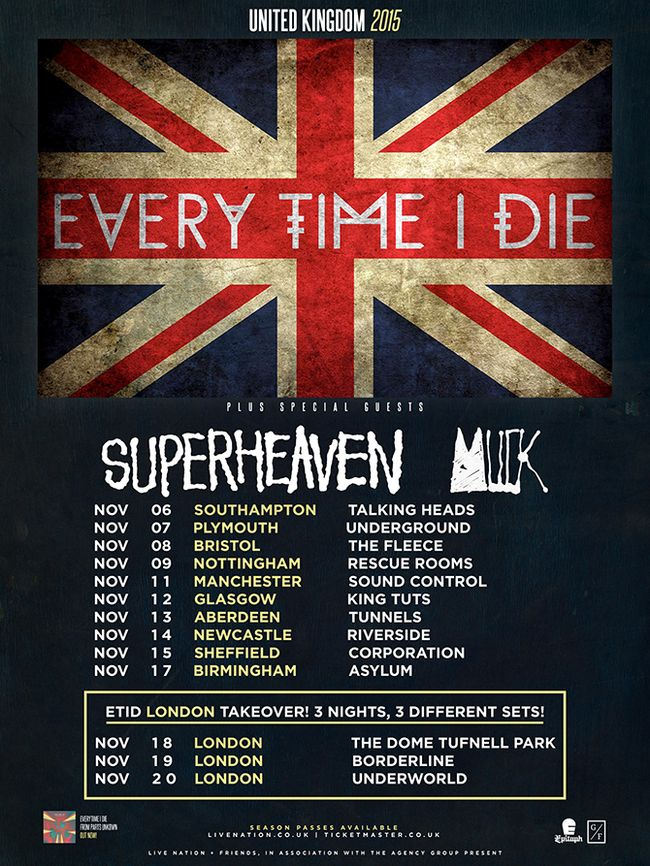 Every Time I Die and Superheaven To Tour UK In November