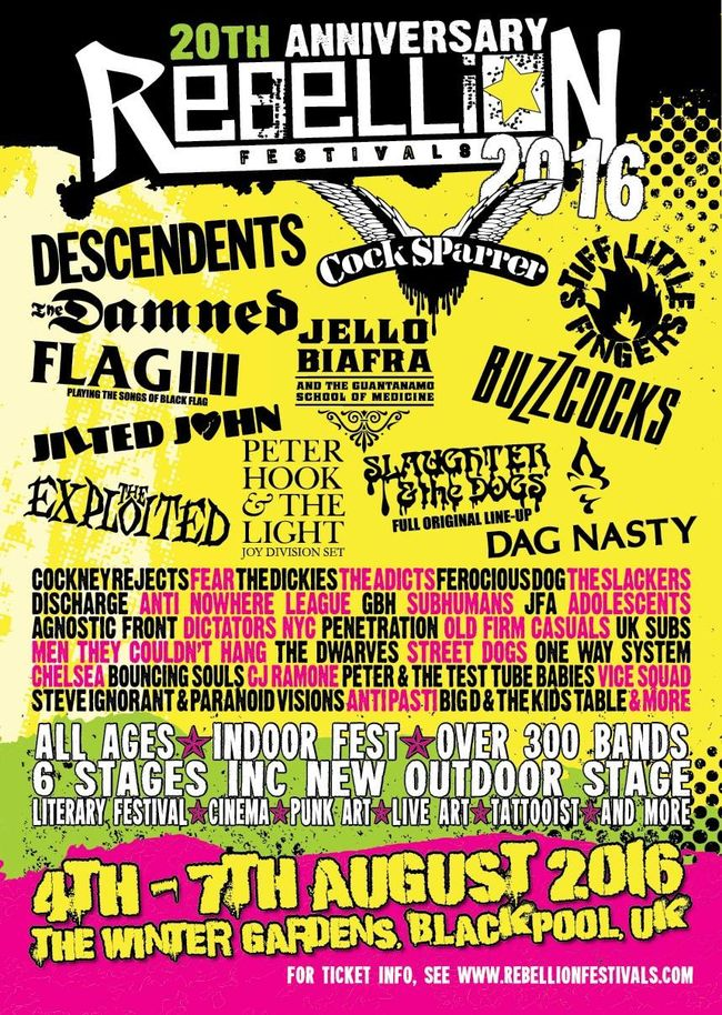 Rebellion Festival 2016 Celebrates 20th Anniversary / 40 Years Of Punk w/ Descendents, FLAG, Bouncing Souls, Buzzcocks & More!