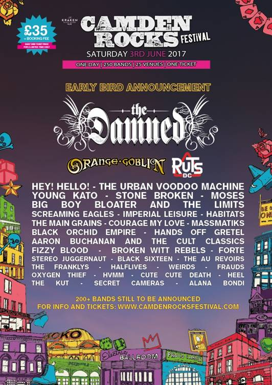 Camden Rocks 2017: The Damned, Orange Goblin, The Ruts DC Amongst First Names Announced