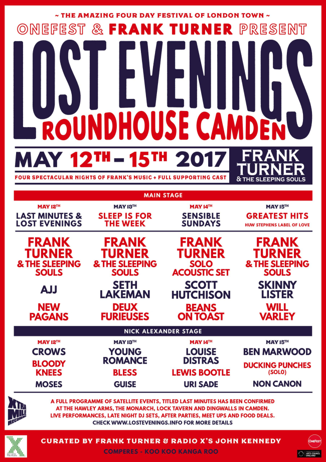 Frank Turner Announces Full Line-Up For Lost Evenings
