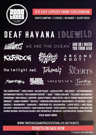 Idlewild, We Are The Ocean and The Subways Added To 2000Trees 2015