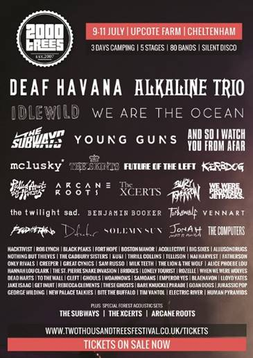 Alkaline Trio and Mclusky* Are Your 2000Trees 2015 Saturday Headliners