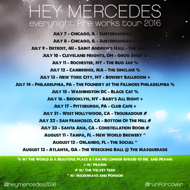 Hey Mercedes Announce 2016 Reunion Tour, 'Everynight Fire Works' Reiussue