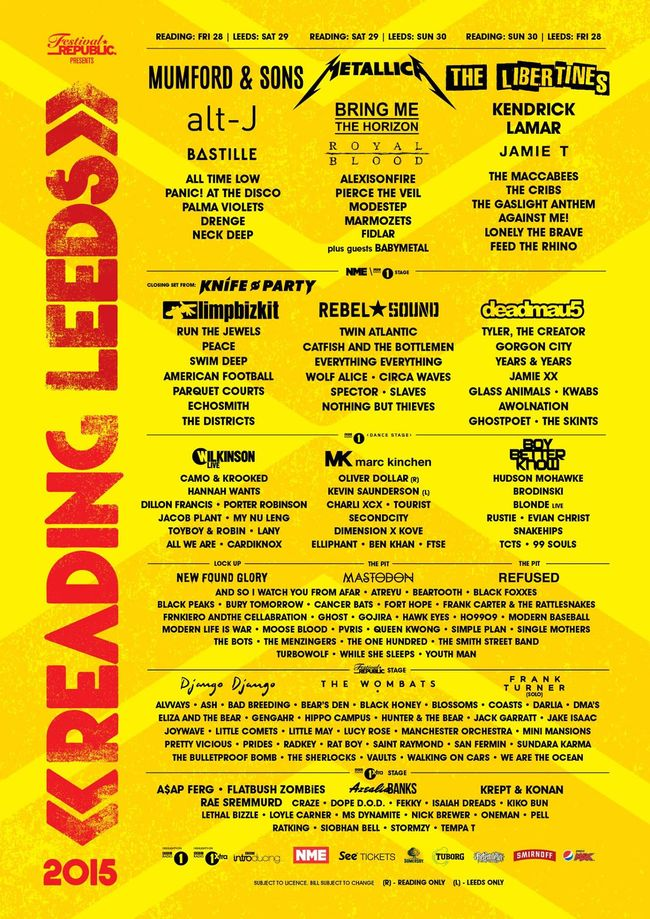 Reading & Leeds Announce 60+ New Bands For 2015