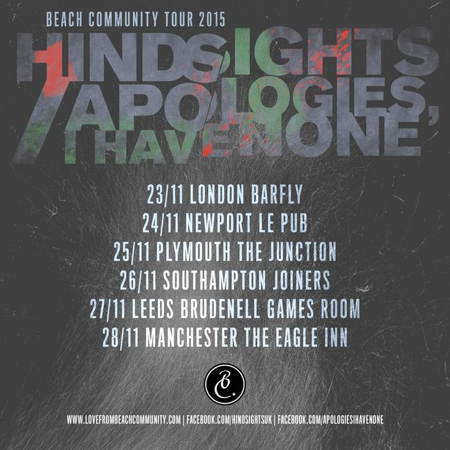Apologies, I Have None and Hindsights to Co-Headline Beach Community Tour