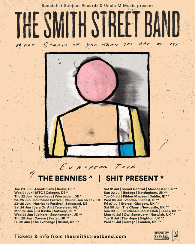 The Smith Street Band Announce UK / EU Tour w/ The Bennies and Shit Present