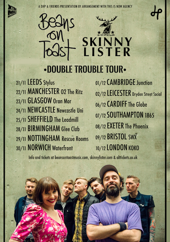 Beans On Toast and Skinny Lister Announce 'Double Trouble' UK Tour For November / December